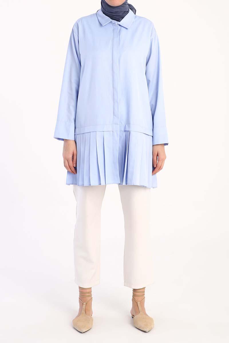 Pile Detaylı Gömlek Tunik