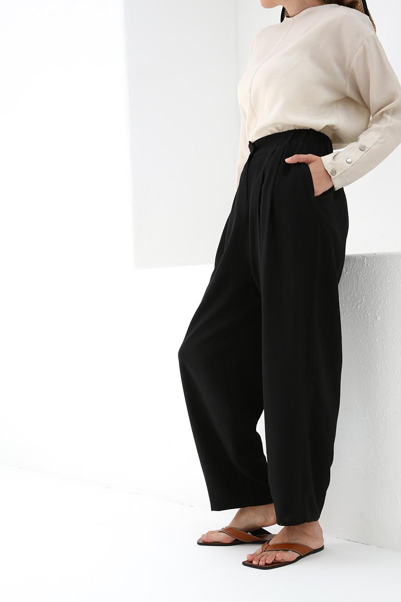 Keten Karışımlı Pileli Pantolon