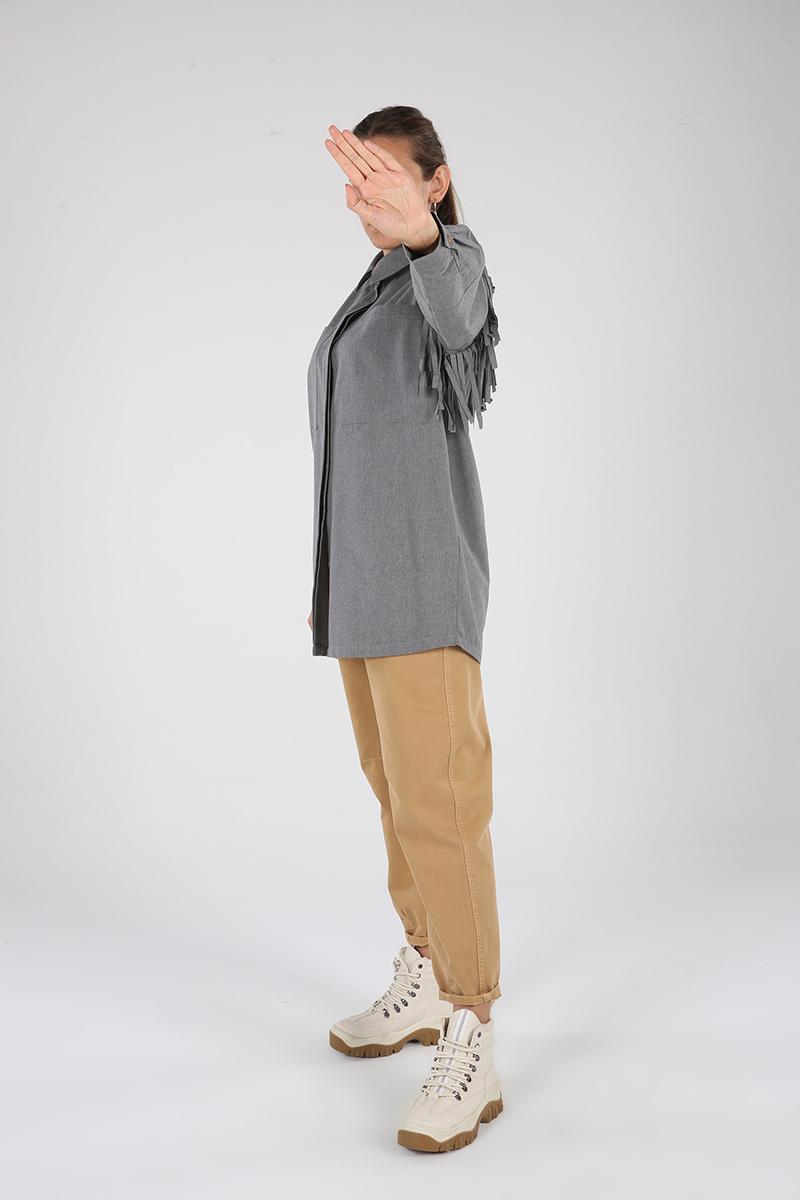 Patlı Püskül Detay Gömlek Tunik