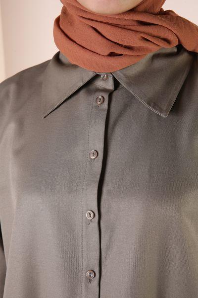 Eteği Bağlamalı Rahat Kalıp Gömlek