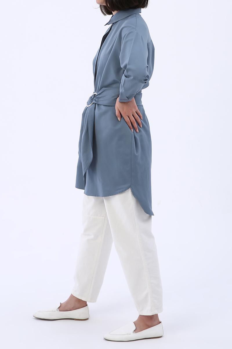 Rahat Kalıp Kuşaklı Gömlek Tunik