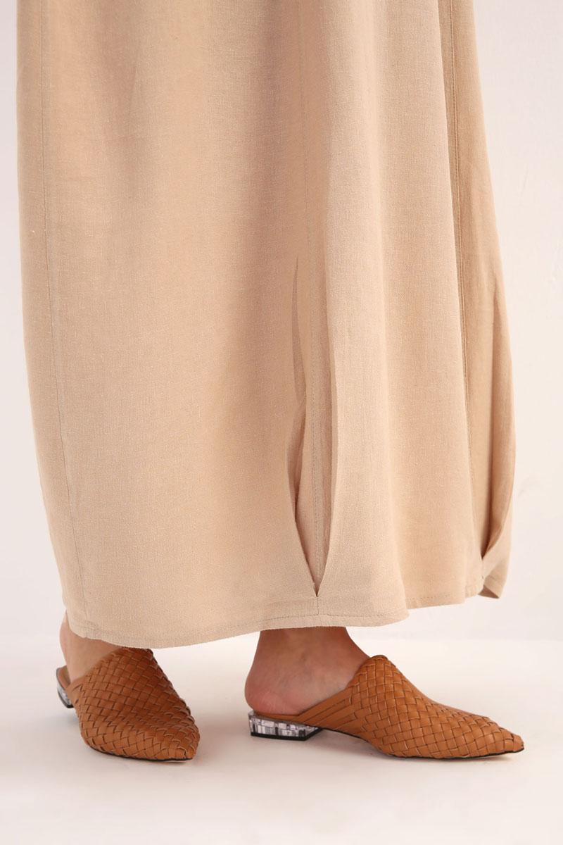 Rahat Kalıp Keten Elbise