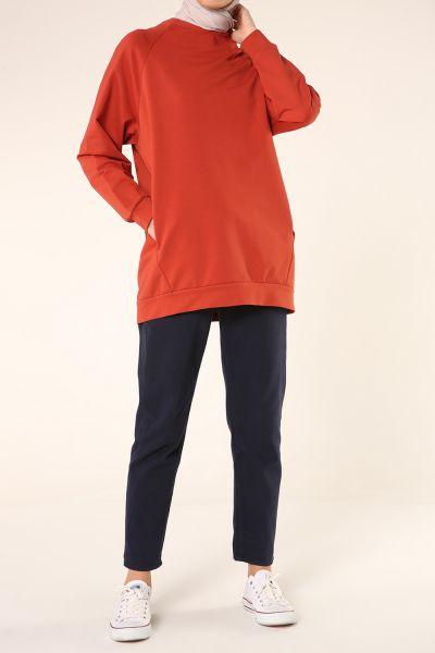 Reglan KolSırt Fermuarlı Sweatshirt