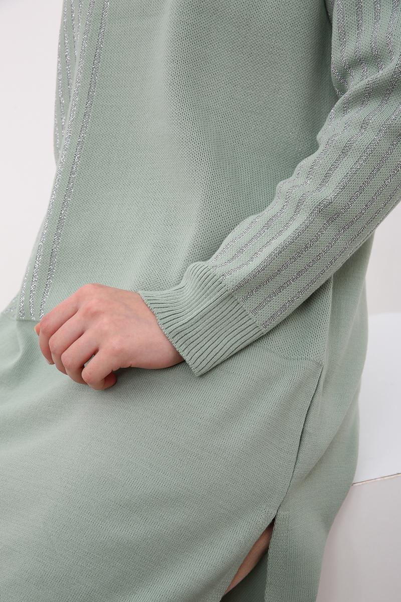 Reglan Kol Çizgi Desen Detaylı Triko Tunik