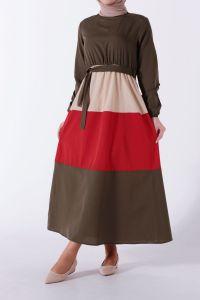 Renk Kombinli Kuşaklı Büzgülü Elbise