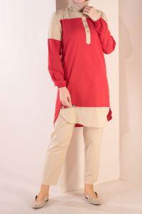 Renk Kombinli Pantolonlu İkili Takım