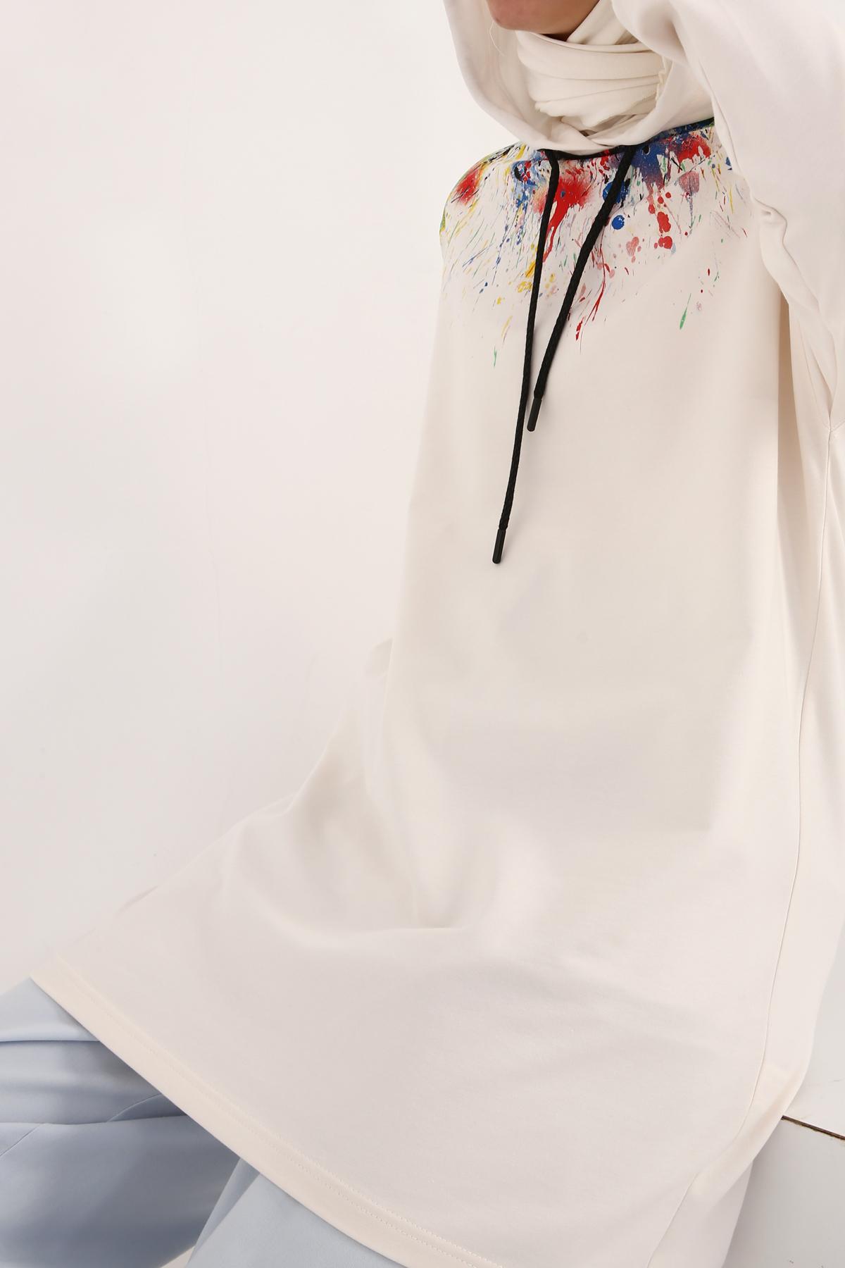 Renkli Baskılı Sweat Tunik