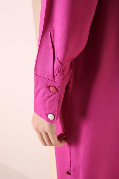 Yandan Renkli Düğmeli Tunik