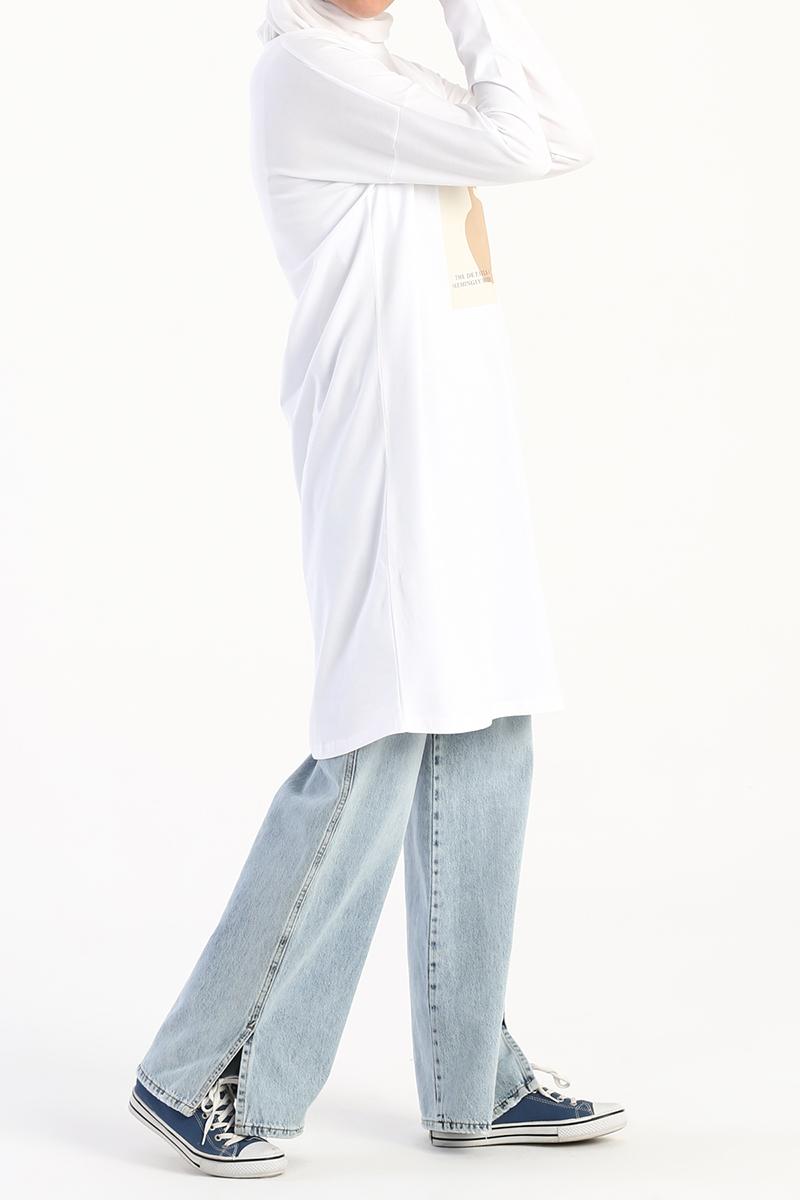 Silüet Baskılı Uzun Kollu T-Shirt Tunik