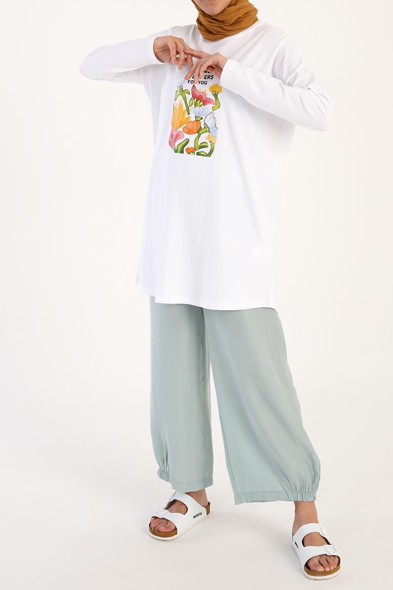 Summer Flowers Baskılı Uzun Kollu T-Shirt Tunik