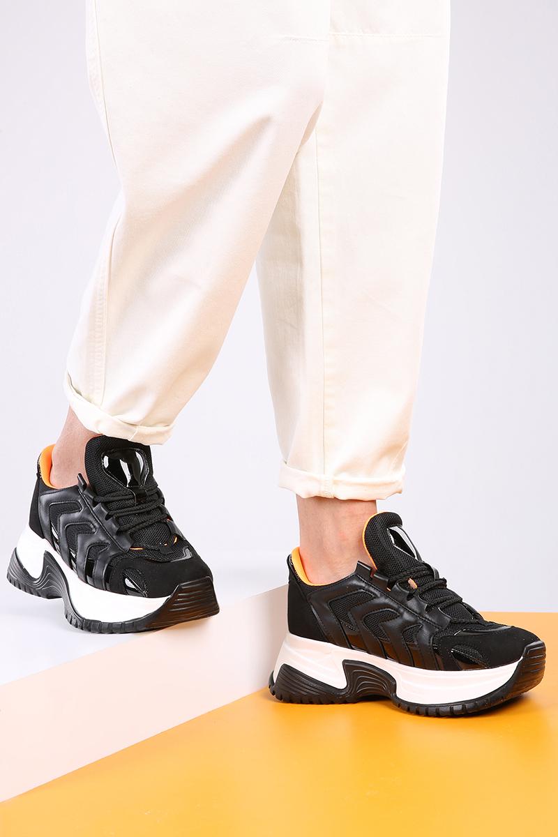 Tabanı Yüksek Bağcıklı Spor Ayakkabı