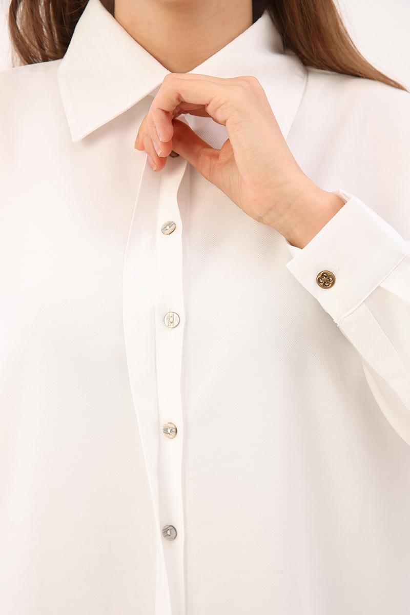 Tensel Gizli Patlı Gömlek Tunik