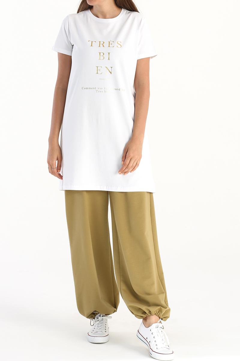 Tres Baskılı Kısa Kollu T-Shirt Tunik