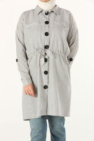 Belden Bağlamalı Gömlek Tunik