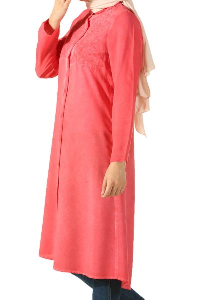 Viskon Üst Robası Nakışlı Gömlek Tunik