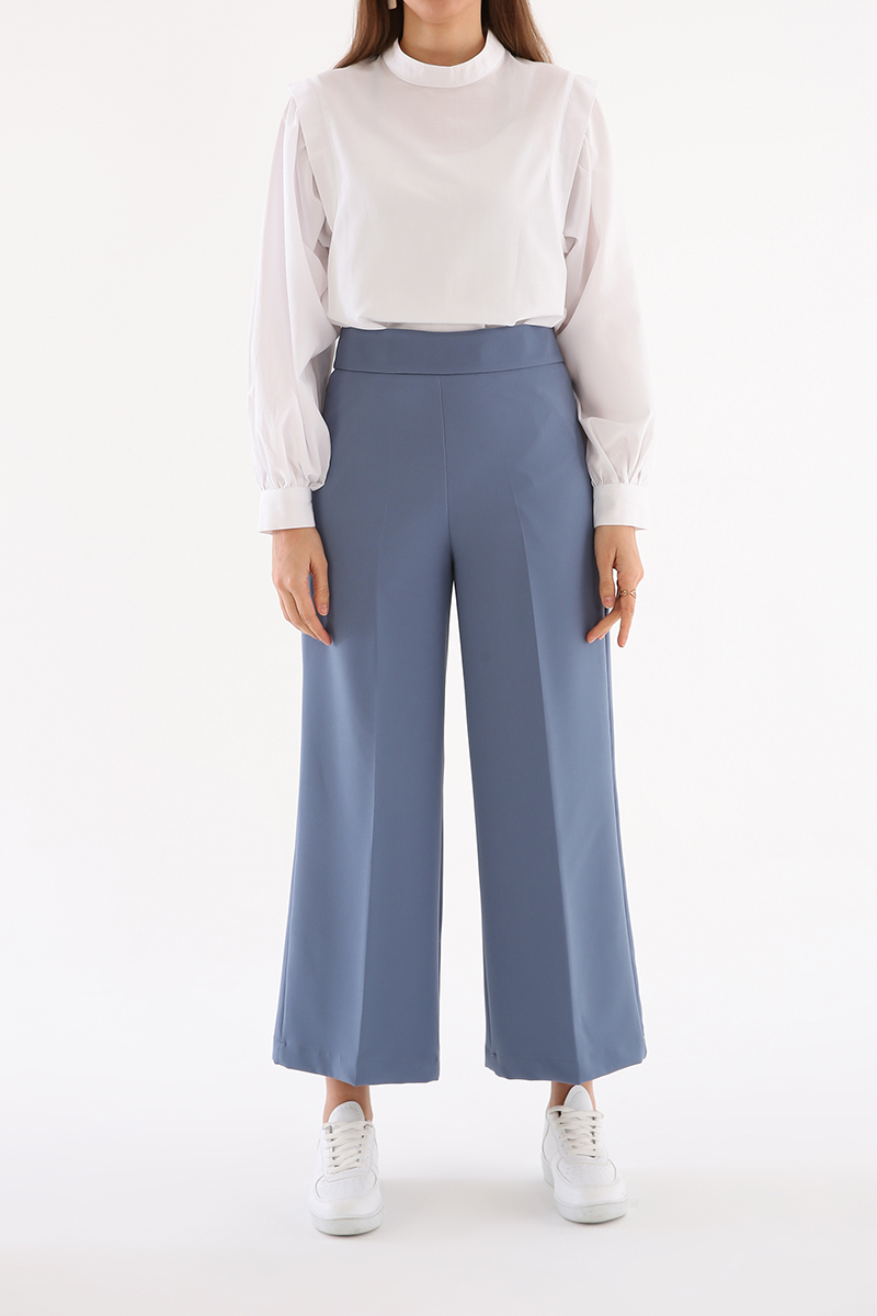 Ütü İzli Bol Paça Pantolon