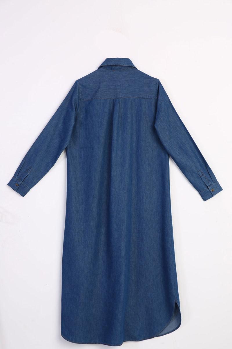 Uzun Denim Gömlek Tunik