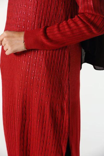 Yandan Yırtmaçlı Varaklı Triko Tunik