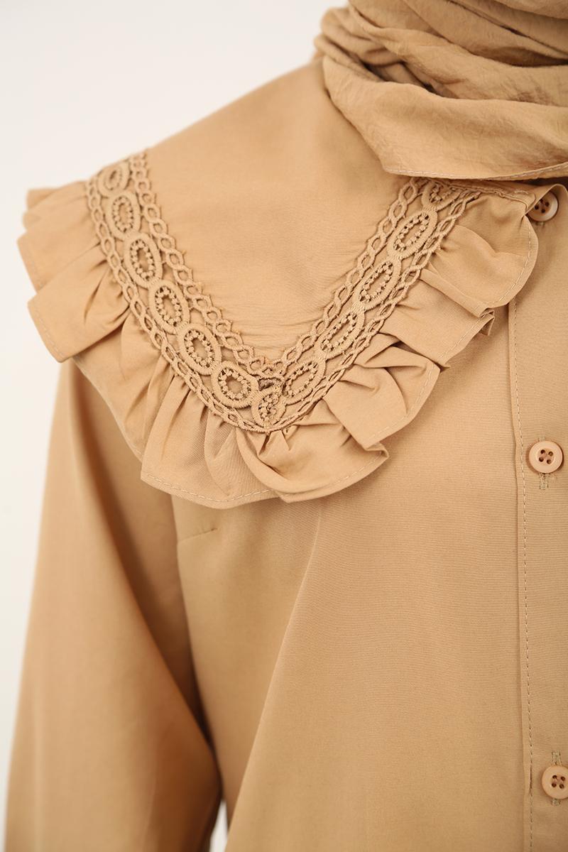 Vintage Yakalı Düğmeli Gömlek Tunik