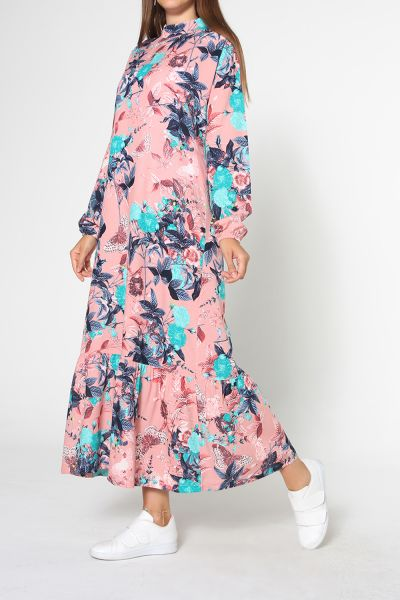 Düşük Kol Eteği Büzgülü Desenli Viskon Elbise