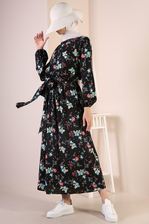 Desenli Kuşaklı Viskon Elbise