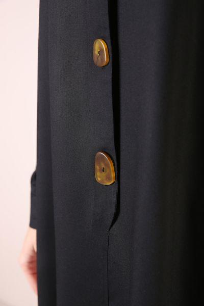 Düğmeli Yarım Patlı Viskon Tunik