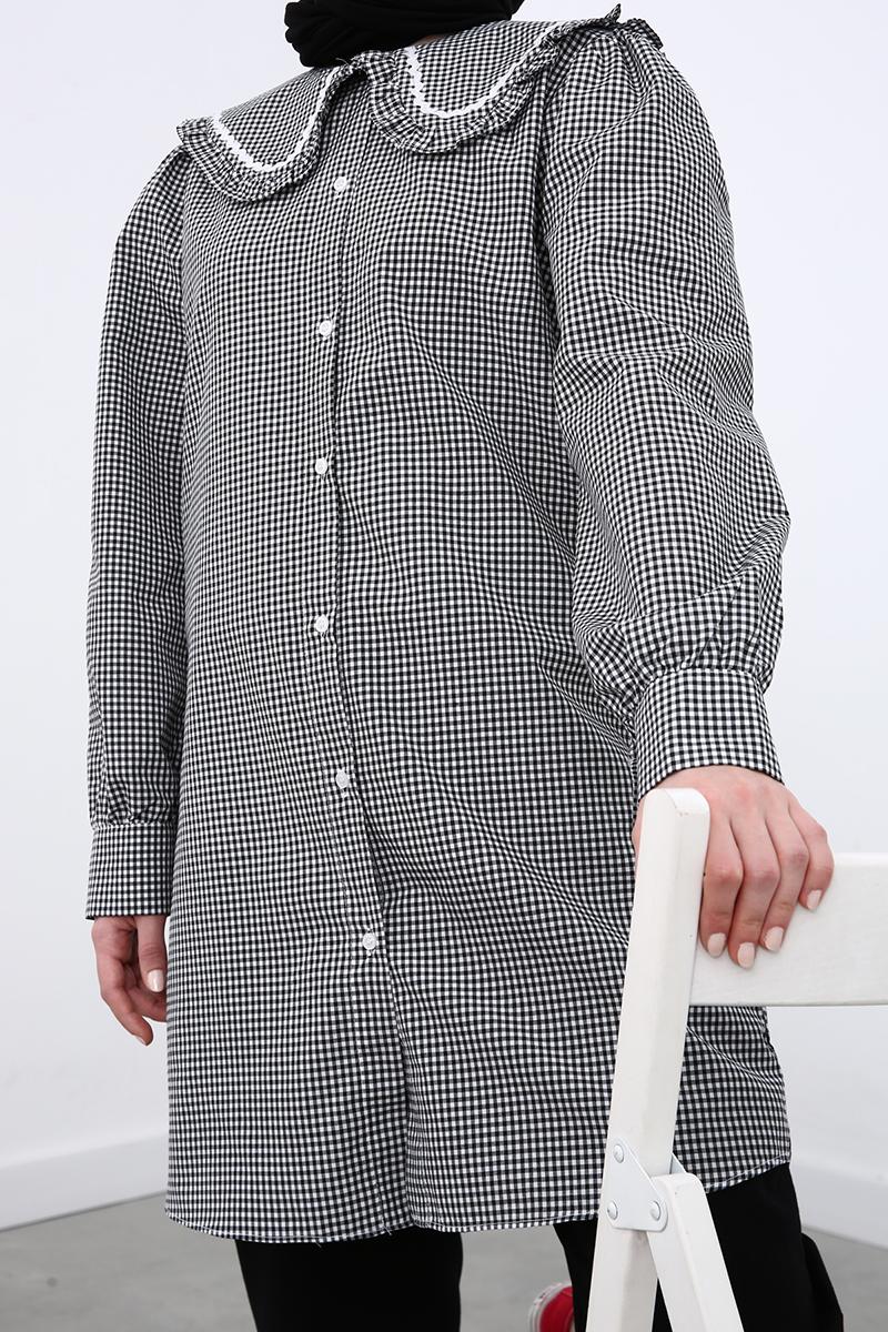 Yaka Detaylı Gömlek Tunik