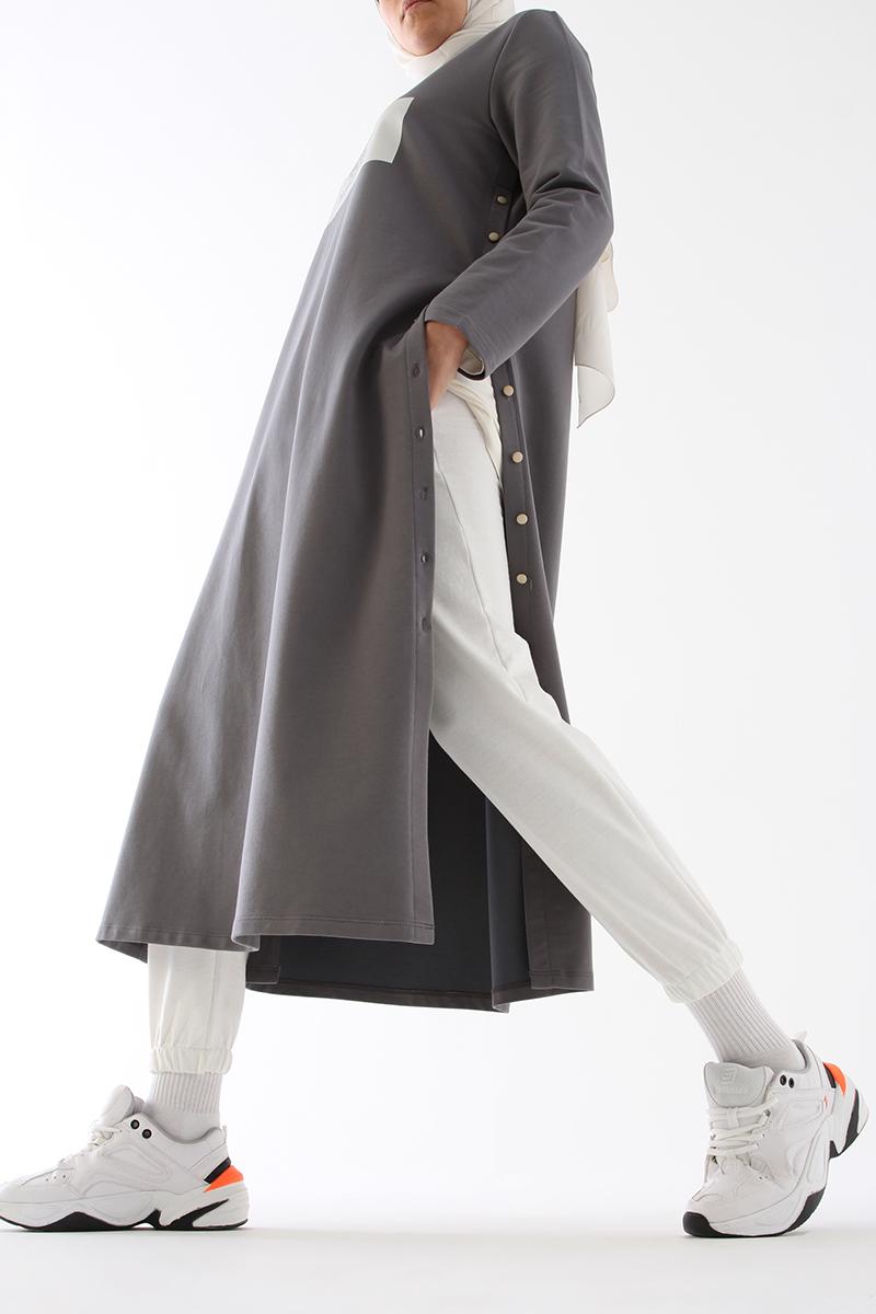 Yan Düğmeli Elbise Tunik