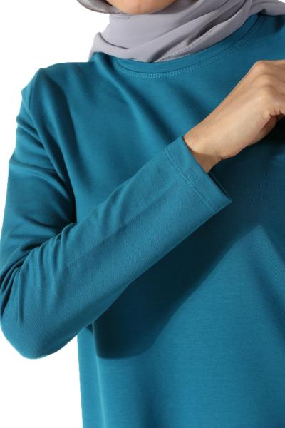 Yan Yırtmaçları Renkli Biyeli Uzun Tunik