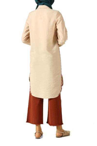 Yanları Grogren Şeritli Gömlek Tunik