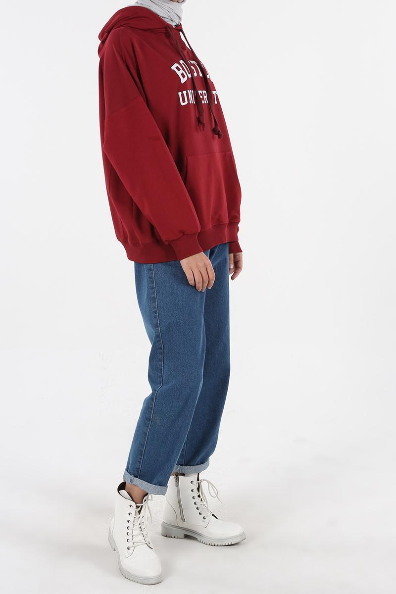 Yarece Kapüşonlu Cepli Baskılı Sweatshirt