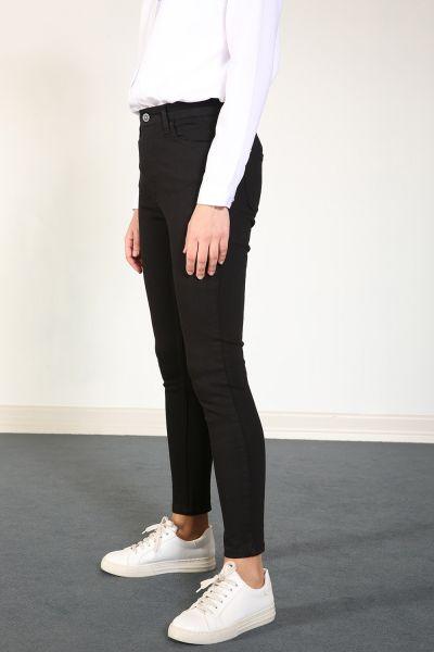 Yarece Dar Paça Düğmeli Pamuklu Pantolon