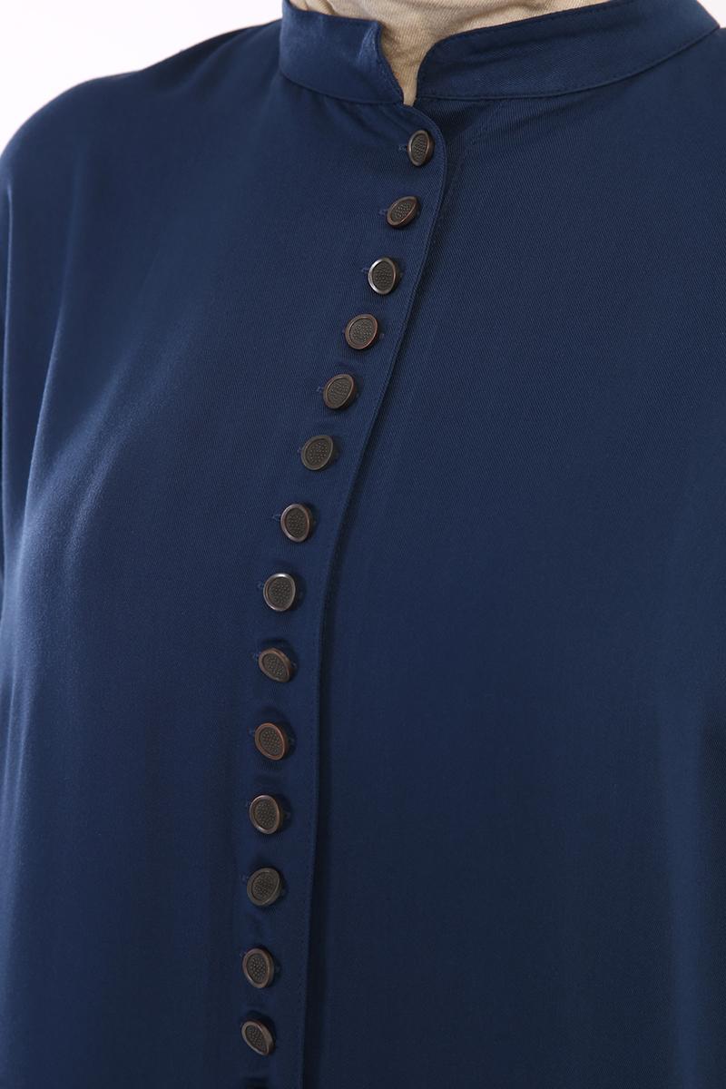Yarım Patlı Düğmeli Viskon Tunik