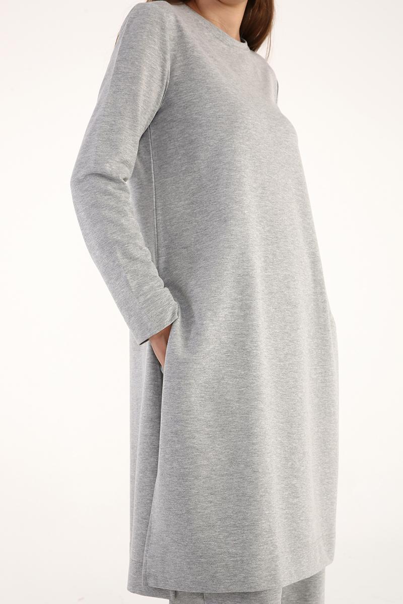 Yırtmaçlı Pamuklu Basic Pantolonlu Takım