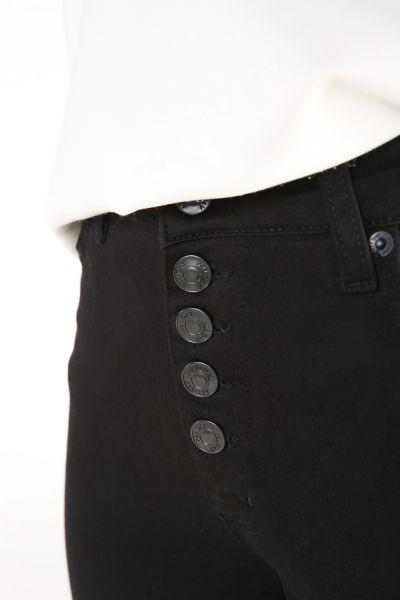 Yüksek Bel Cepli Düğmeli Dar Paça Pantolon